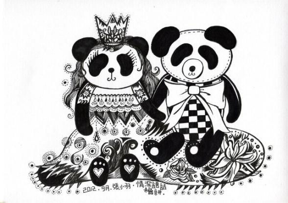 插画熊猫手绘图