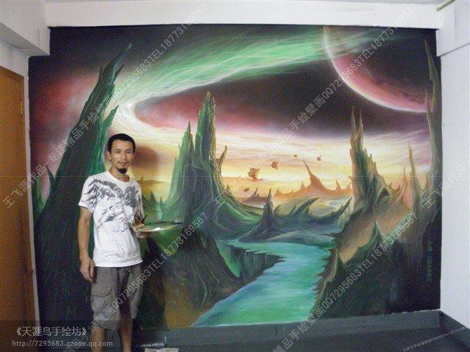长沙手绘墙-魔兽世界场景手绘壁画-天涯鸟