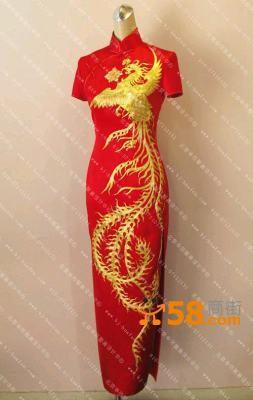 北京华芬原创 旗袍 中式结婚礼服 手工刺绣盘金凤凰